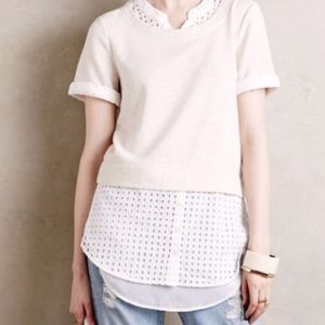 Anthropologie Ivory Layered Eyelet Top